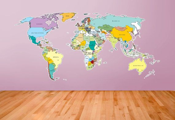 Printed world map self adhesive high detail quality wall decal large printed world map with country names bright and colourful via etsy gumiabroncs Images