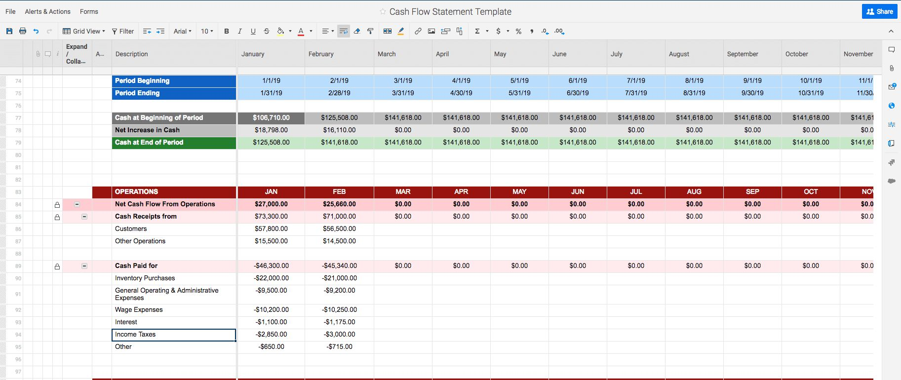 Free Cash Flow Statement Templates Smartsheet Throughout