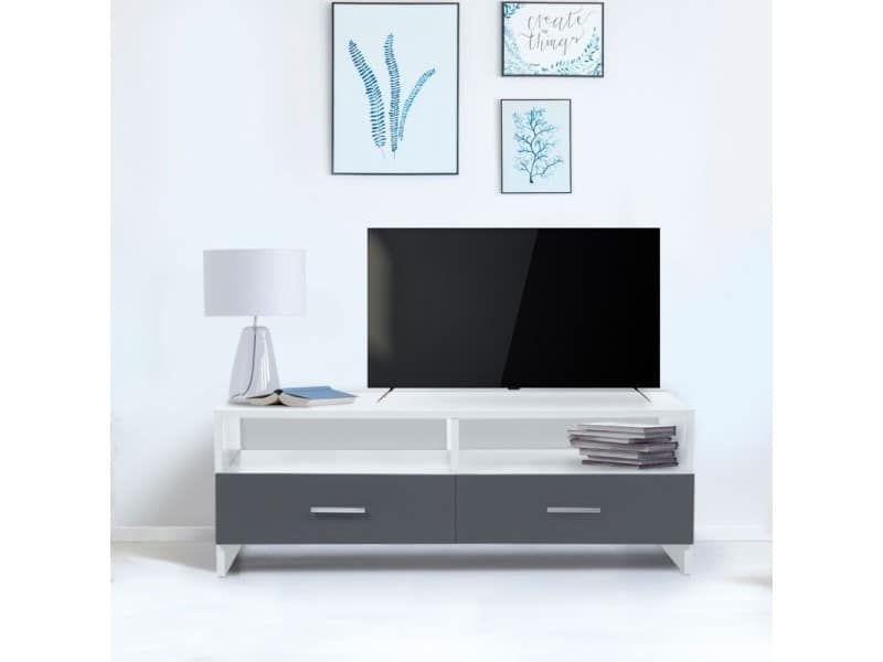 Meuble Tv Falko Bois Blanc Et Gris Vente De Id Market
