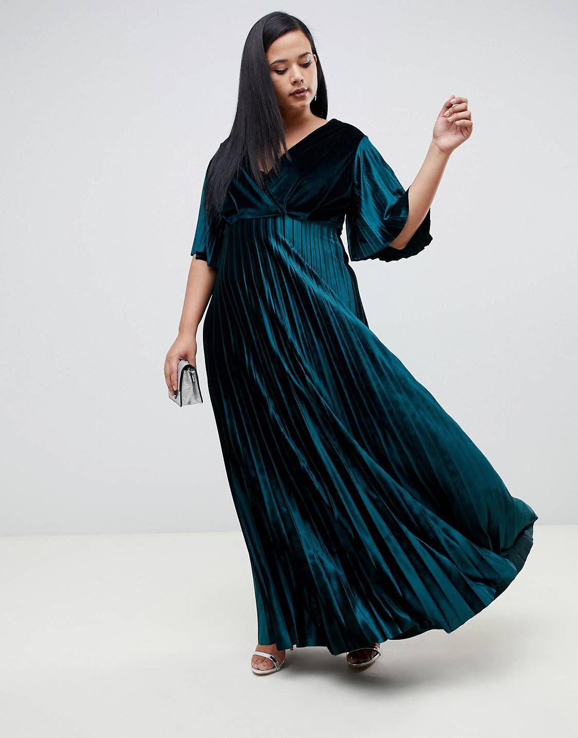 Design curve kimono pleated velvet maxi skater dress in curvy