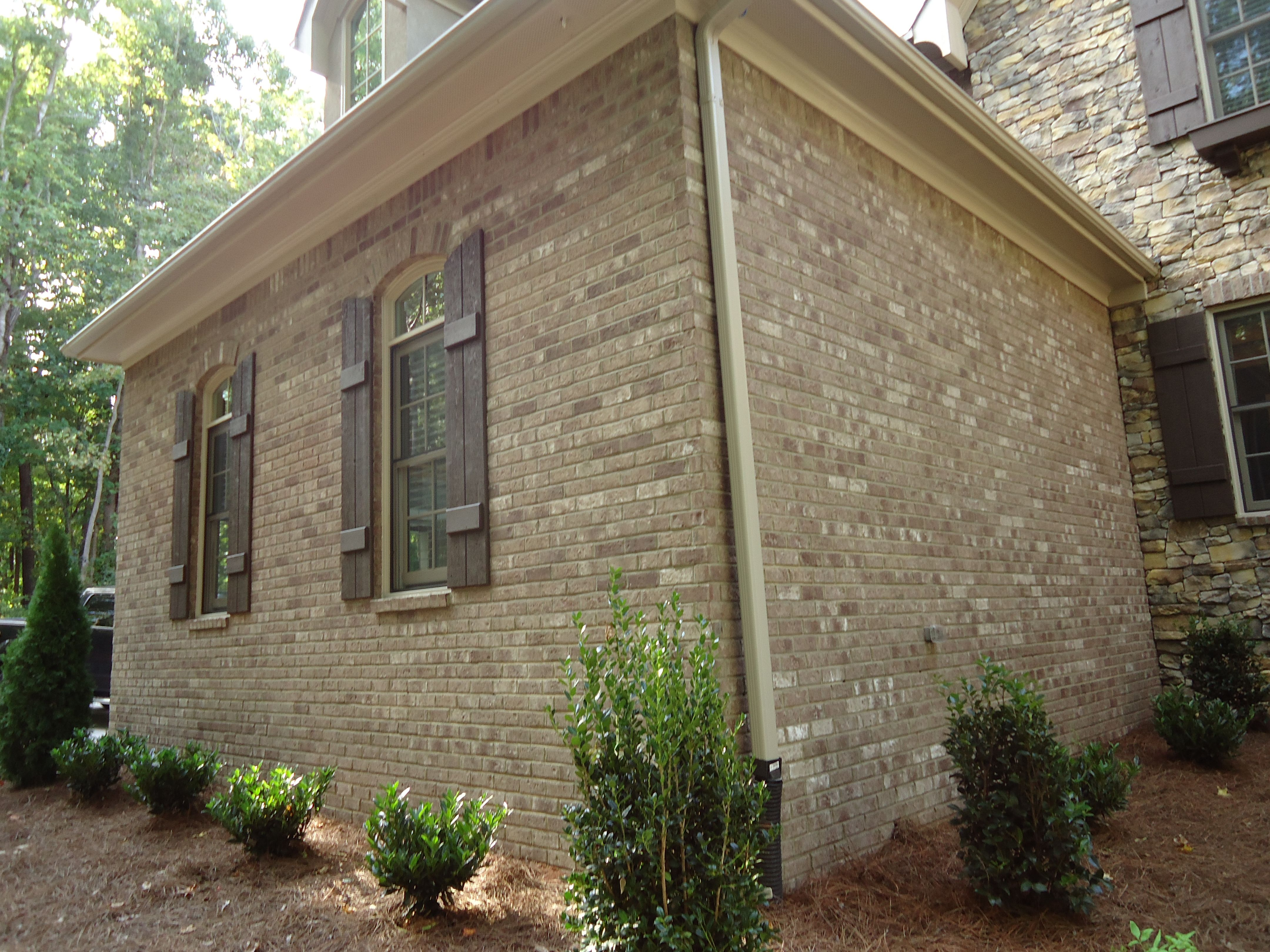 French cottage exterior - Arh Asheville Plan Exterior 30 Brick Boral Savannah Gray Shutters