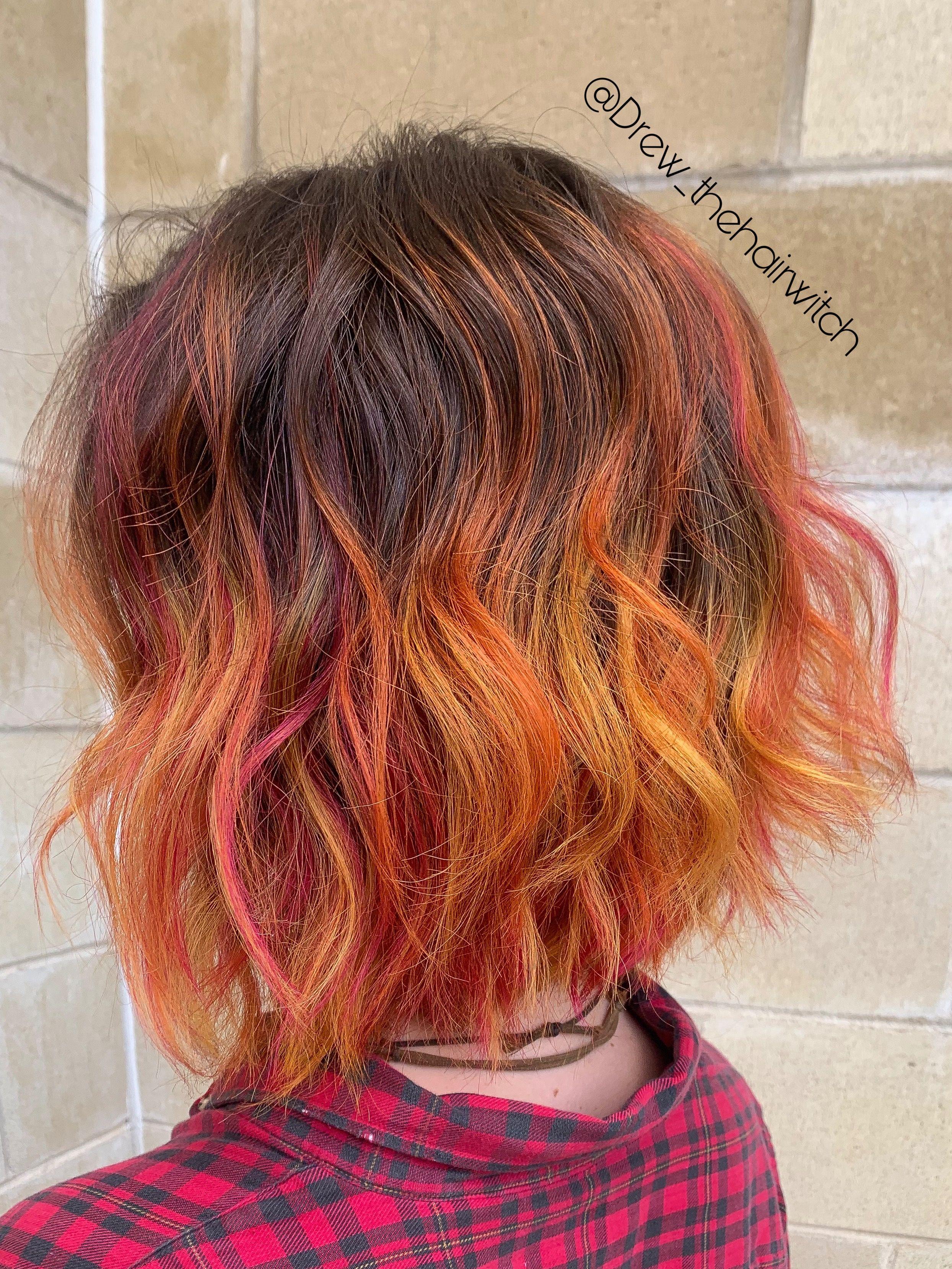 Orange Yellow And Magenta Balayage And Highlight Mix Colorfulbalayage Orangehair Yellowhair Colorfulhighlights Yellow Hair Hair Orange Highlights