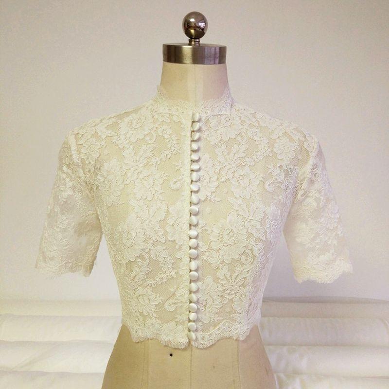 Find More Wedding Jackets / Wrap Information about Real Elegant High Neck Ivory…