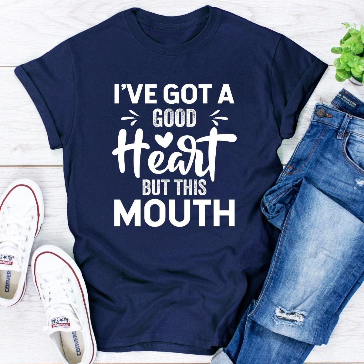 I've Got A Good Heart But This Mouth (Navy / 2XL)