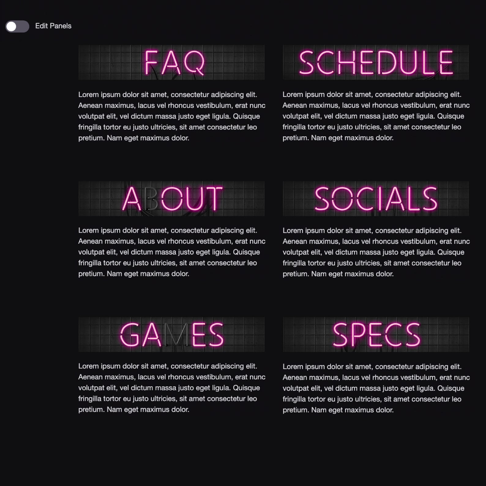 Twitch Channel Panels Neon Lettering Sign Theme