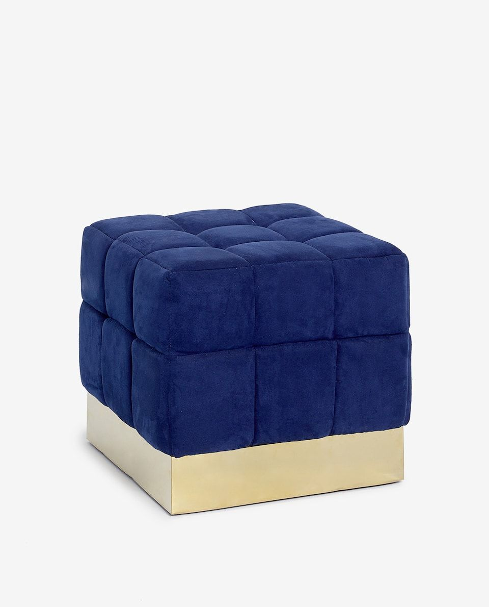 Ottomans & Footstools Navy Velvet Round Stool Home Decor Bedroom Living Room Accessory Furniture Chair