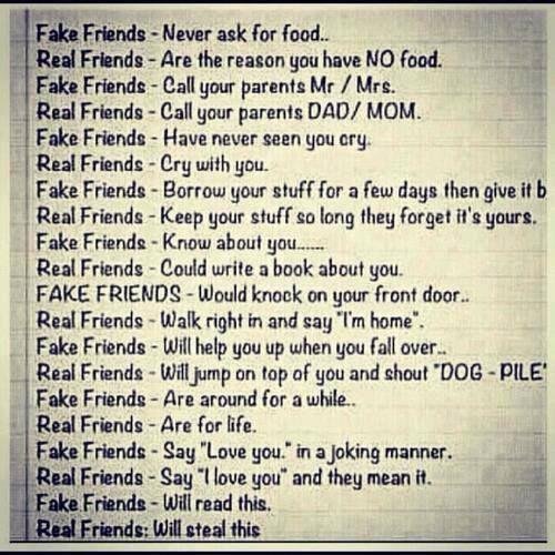 Fake Friends Vs Real Friends Friends Pinterest Real Friends