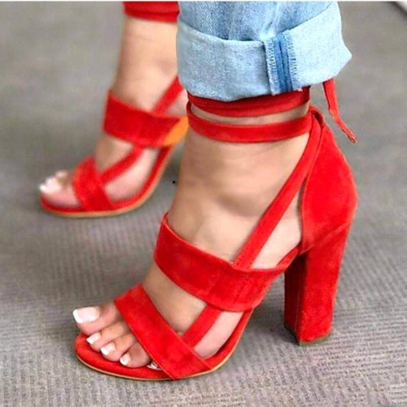 Stiletto Sandals High Heels Open Toe Ankle Strappy Womens Shoes Black Red Big Size 34-43 Shoes