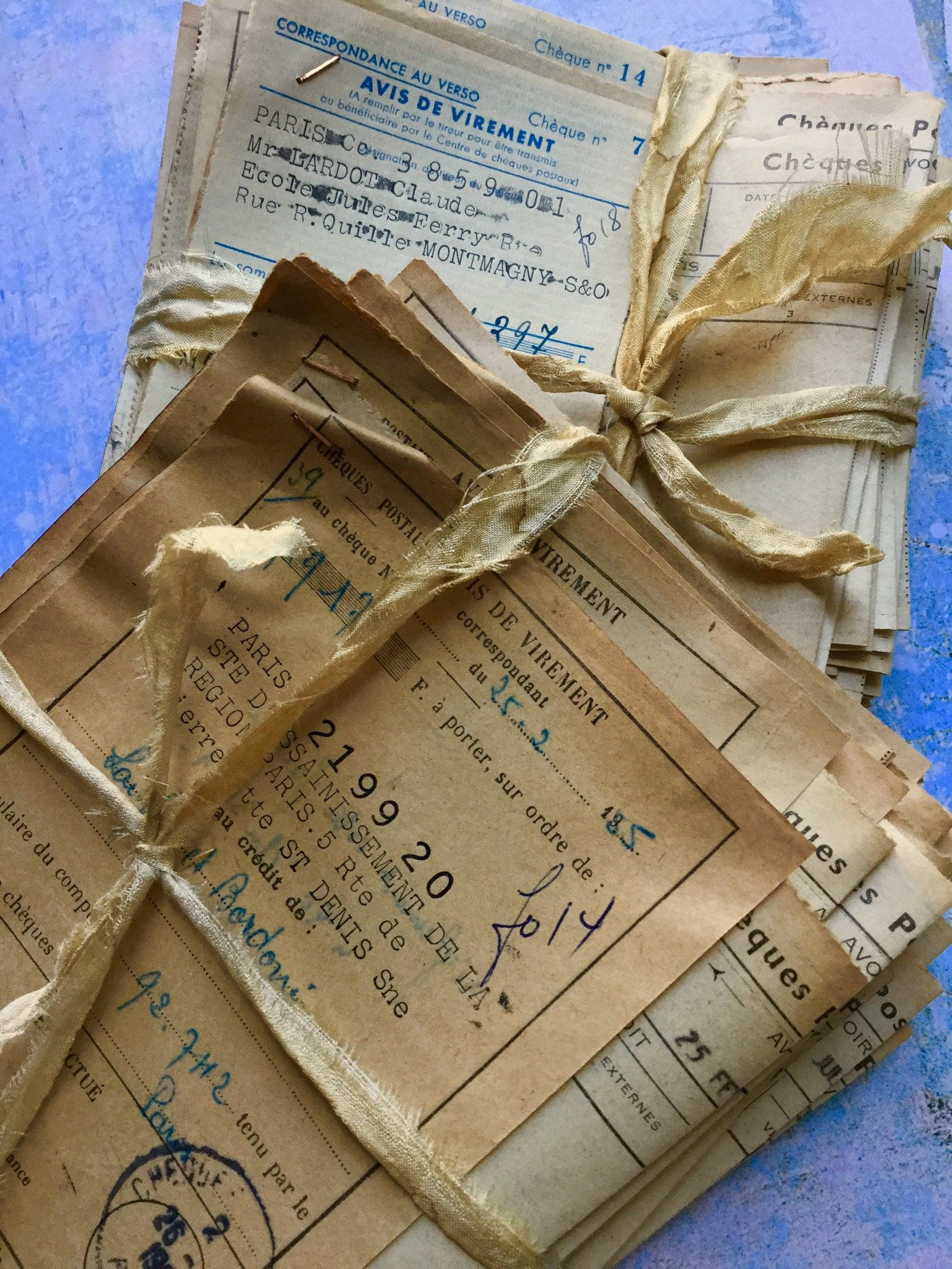 20 French Postal Checks And Receipts Tickets Vintage Junk Journal