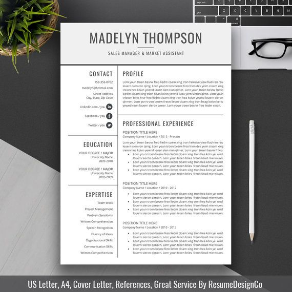 Professional Resume Template Cover Letter CV by ...