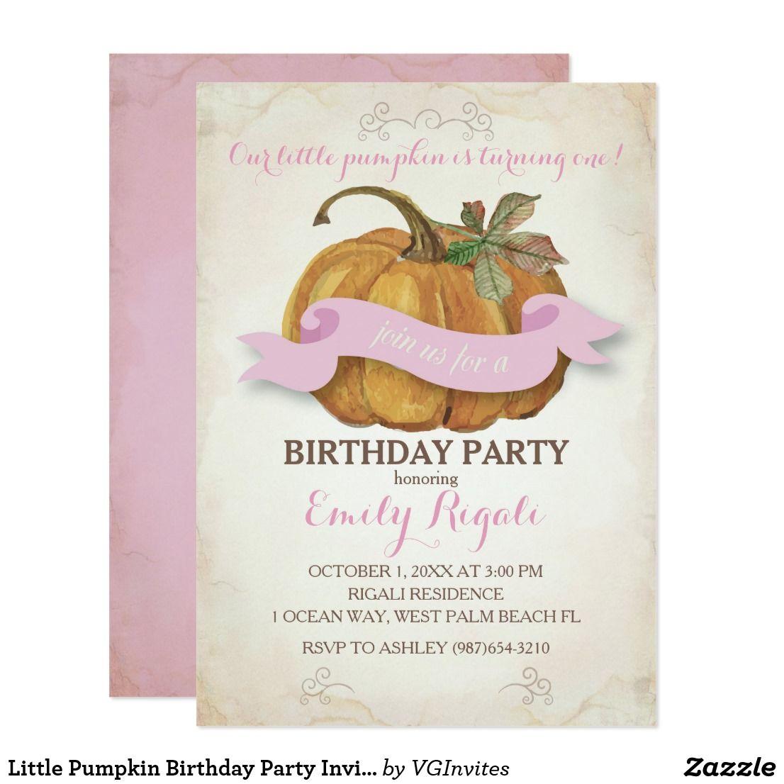 Little Pumpkin Birthday Party Invitation - Girl   Pumpkin birthday ...