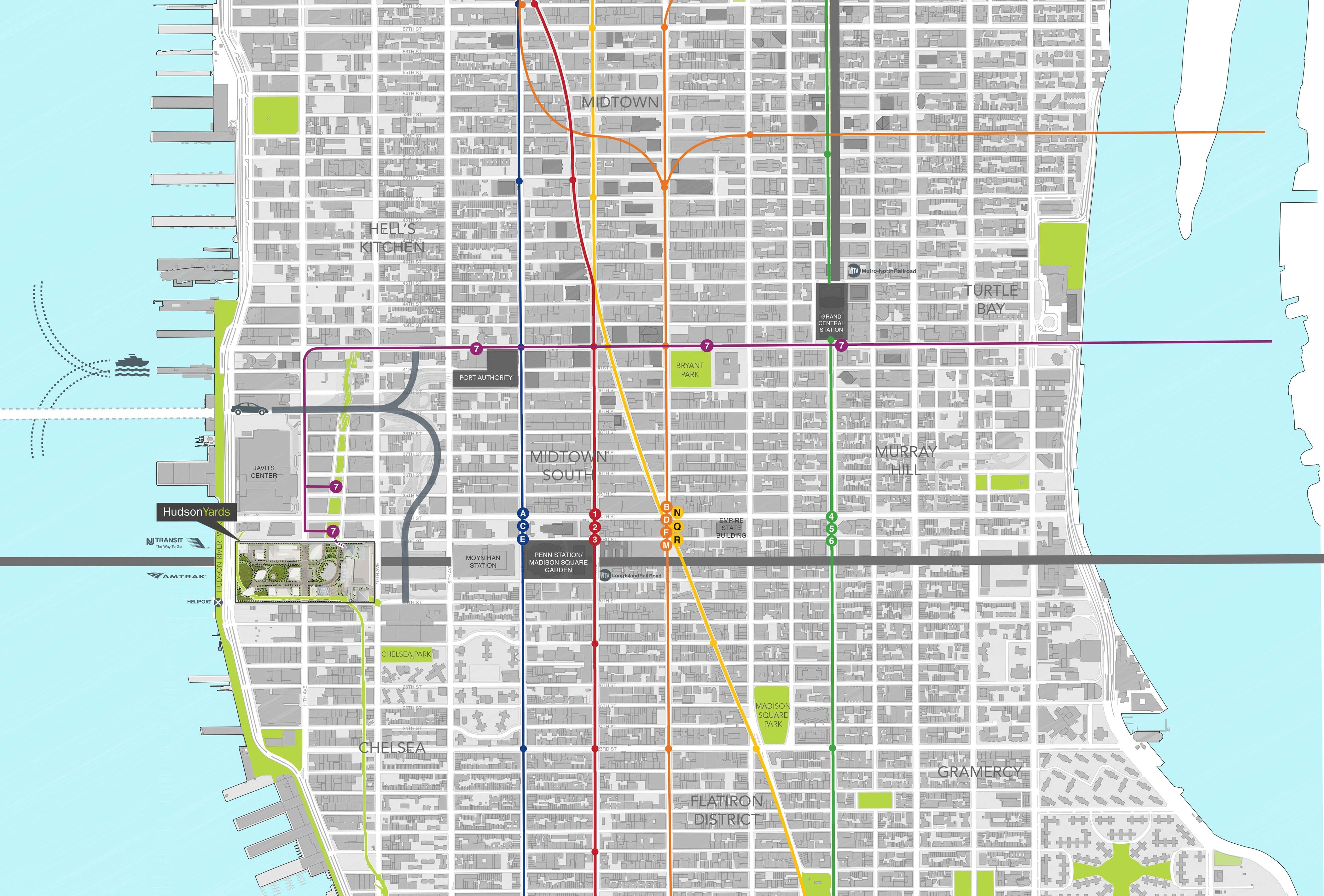 Hudson Yards Is Strategically Located At The Center Of The Region - Nyc map javits center