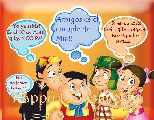 El Chavo Del Ocho Fiesta Invitación Del Cumpleaños Para