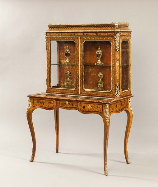 An Antique Satinwood and Marquetry Vitrine Cabinet - Vitrina Gabinete De  Antigüedad Do. 1860 Inglaterra - Antique Vitrine Cabinets Antique Furniture