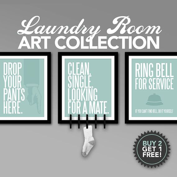 Laundry Room Art Collection Printable Digital Files In 5 Colors