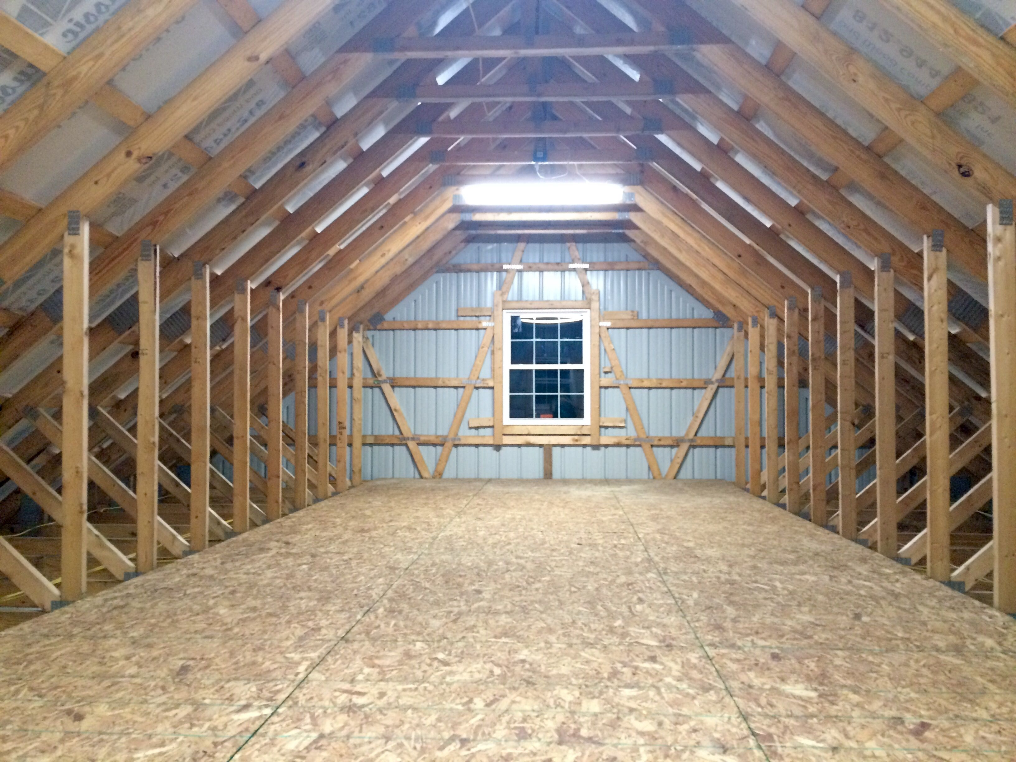 Newly Constructed Pole Barn This Is The 32 X 12 X 9 Unfinished Attic Space Accomplished By Using Pre Made Att Pole Barn Homes Pole Barn House Plans Pole Barn