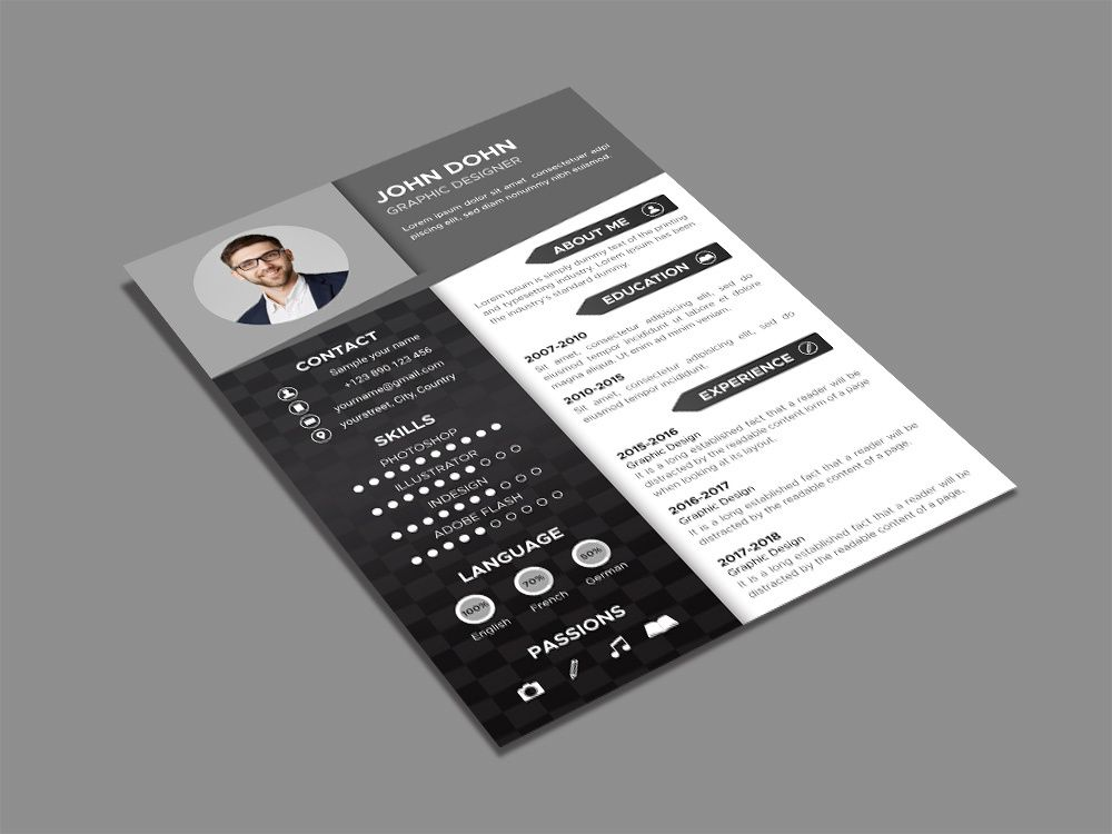 Free black and white resume template resume template