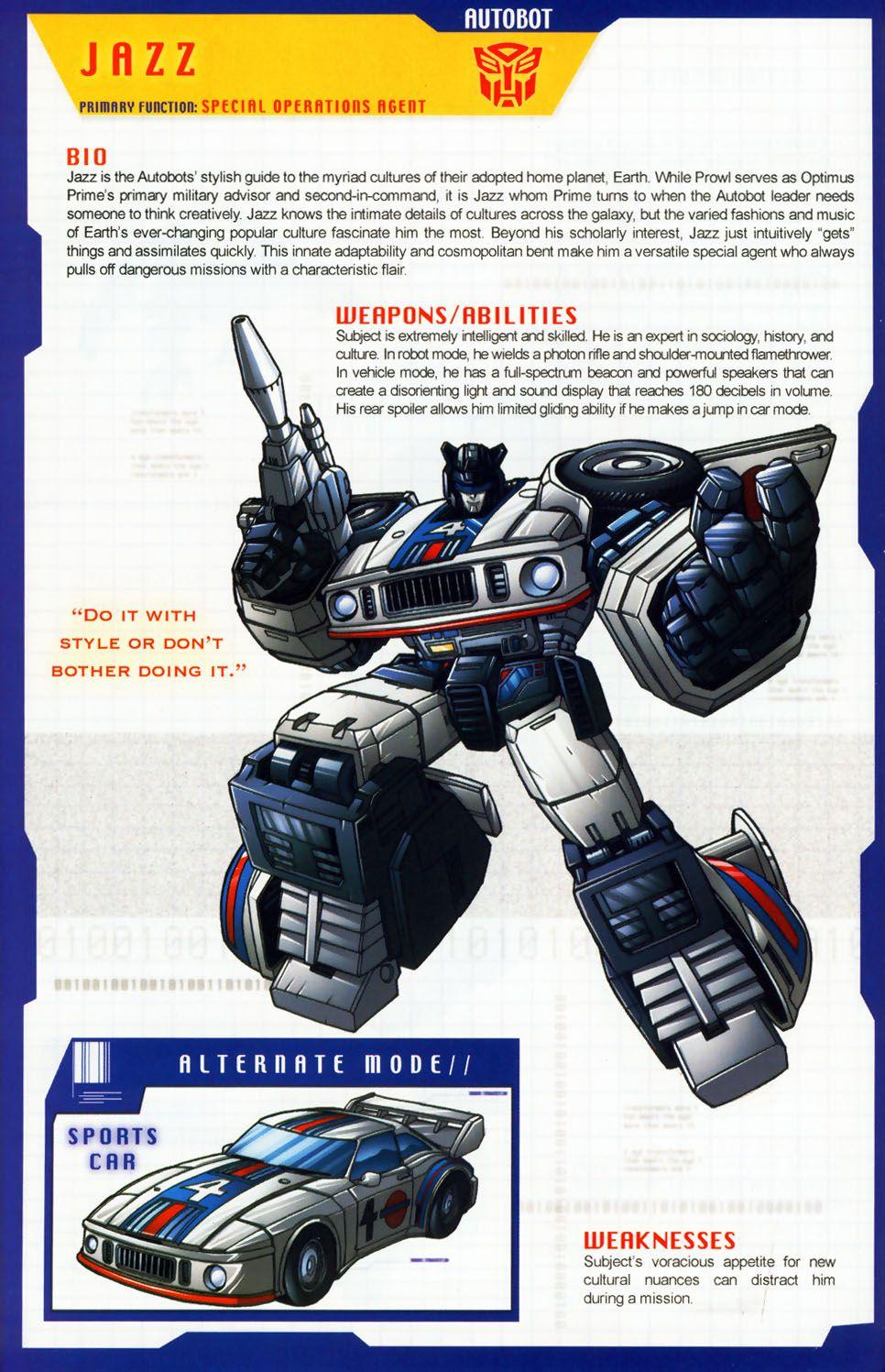 Autobot jazz bio transformers pinterest