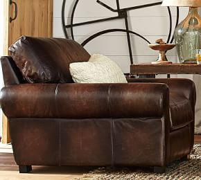 Turner Leather Roll Arm Armchair #Pottery Barn