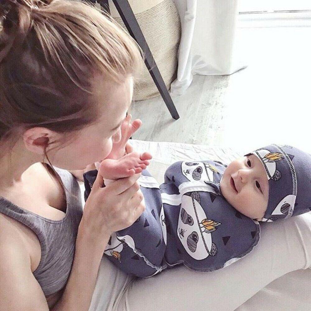 Newborn Infant Baby Swaddle Blanket Soft Cotton Sleeping Swaddle Muslin Wrap