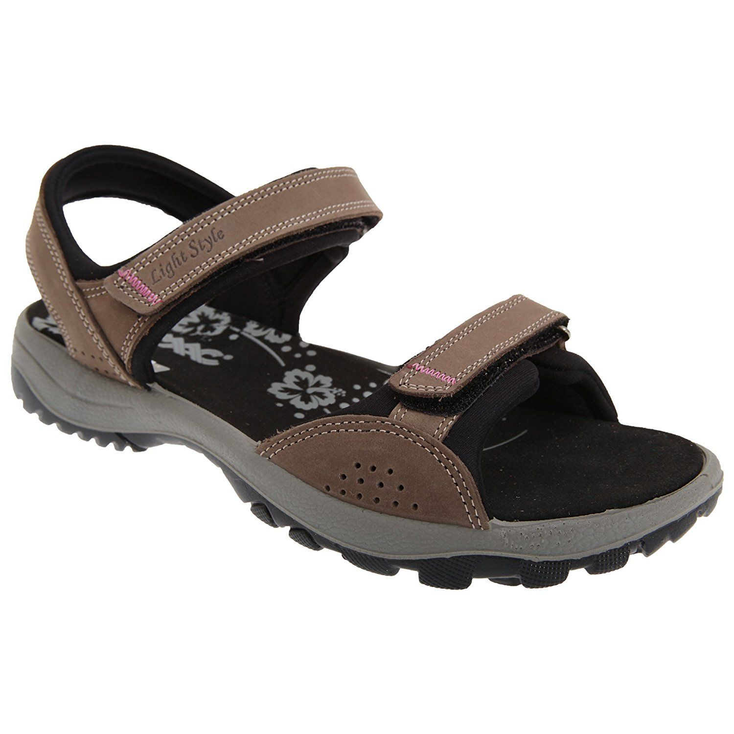 Womens/Ladies Nubuck Leather Two Touch Fastening Sports Sandals (11 US) (Brown)