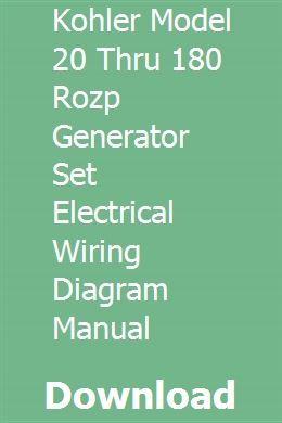Kohler Model 20 Thru 180 Rozp Generator Set Electrical Wiring