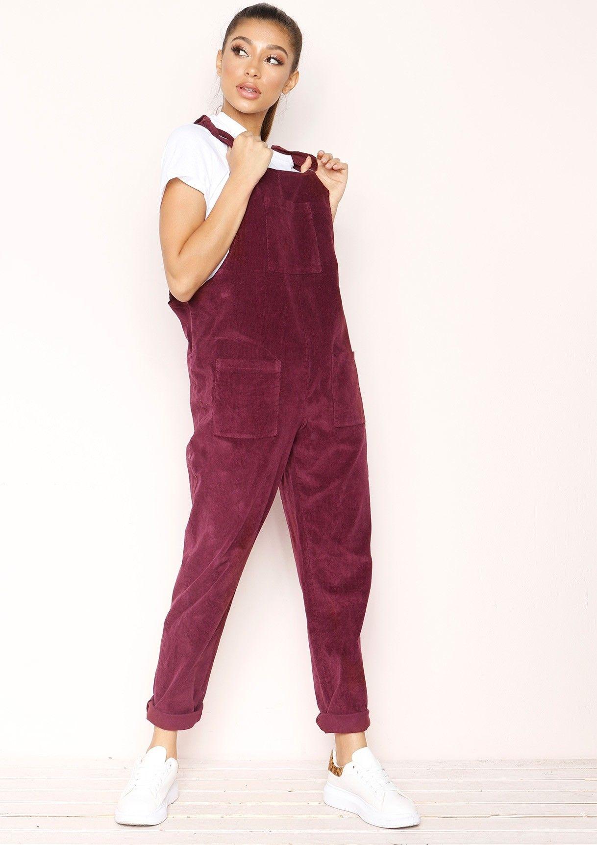 fa33568527 Missyempire - Shayla Purple Corduroy Dungarees