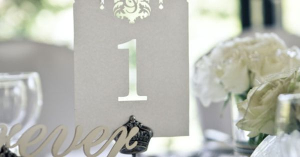 Elegant Table numbers for a wedding reception #White #DIY -- S&S, it's really sweet how the couples initials are cut into the design at the top of … | Pinteres…