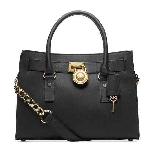 Michael Michael Kors Hamilton Black Saffiano Leather East West Satchel BAG