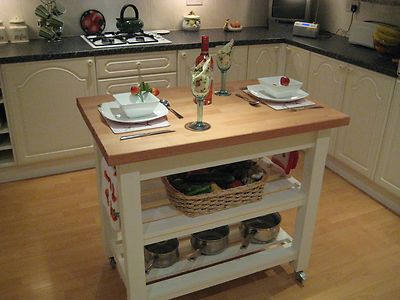 Shabby Chic Butchers Block Kitchen Island Unit In Laura Ashley