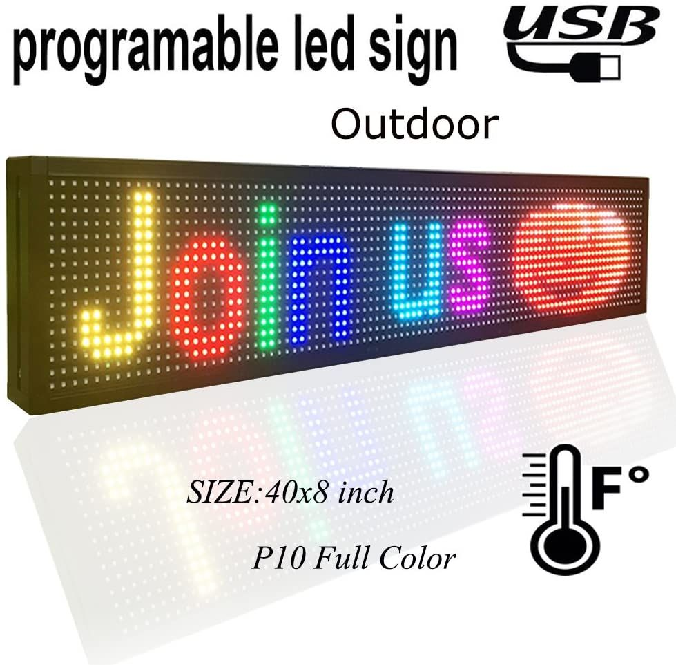 P10 Outdoor Full Color Led Sign 40 X 8 With High Resolution Programmable Led Scrolling Display In 2020 Led Signs Led Display Board Led Color