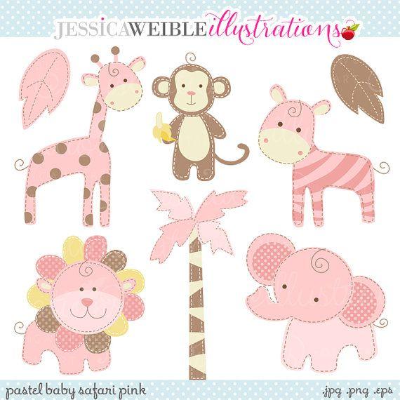Pink Baby Pastel Safari Cute Digital Clipart by JWIllustrations