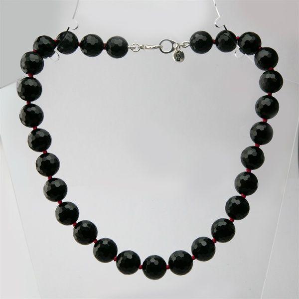 Stephen Einhorn Natalia Choker Necklace in Black Onyx & Red.