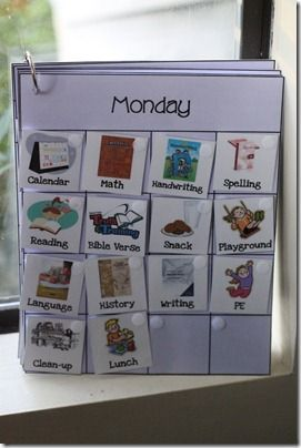 Workbook Weekly Grid. Love this idea... kiddos can see what needs to be done each day