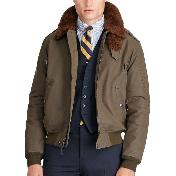 6ea37f89a00 Polo Ralph Lauren Shearling Collar Bomber Jacket ( 395) ❤ liked on Polyvore  featuring men s fashion