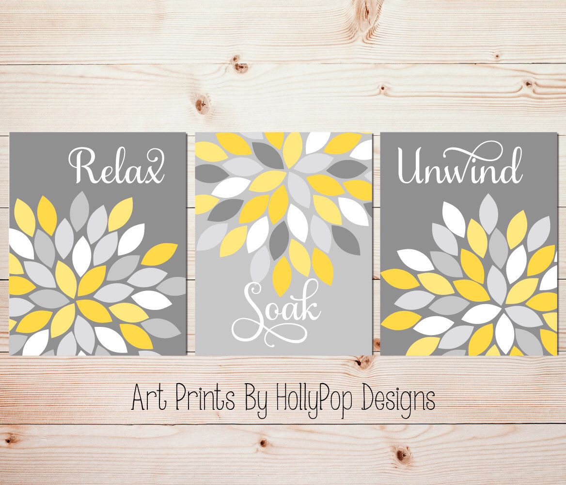 Yellow Gray Wall Art Set of 3 Bathroom Prints Bathroom Wall Art Spa ...