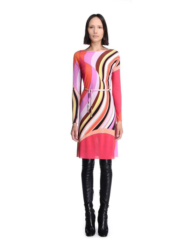 Emilio Pucci Stripe Printed Red Multicolor Short Dress