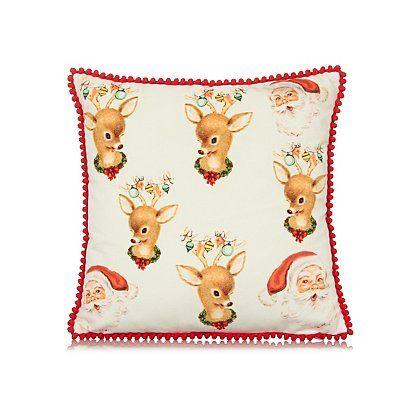 George Home Retro Santa Cushion 30x30cm | Home & Garden ...