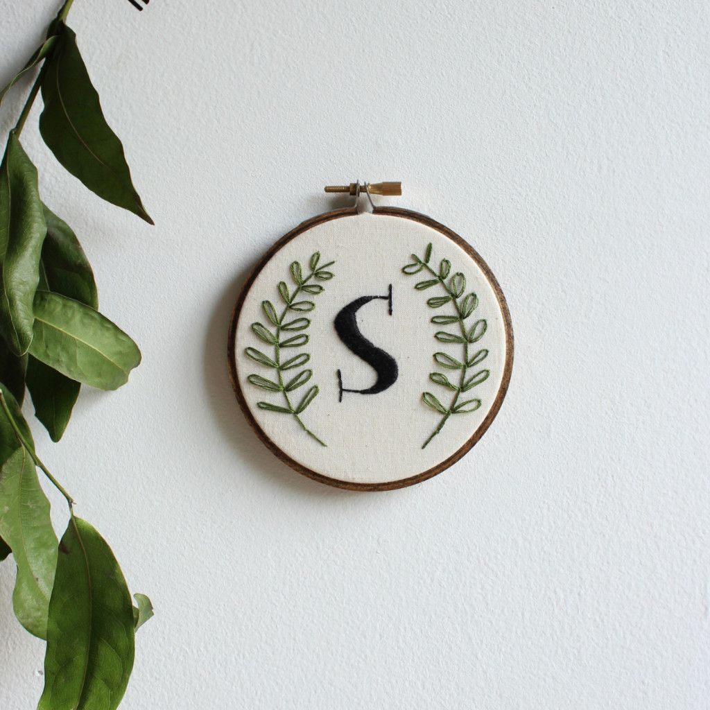 Custom Monogram Embroidery Hoop Art HandEmbroidery