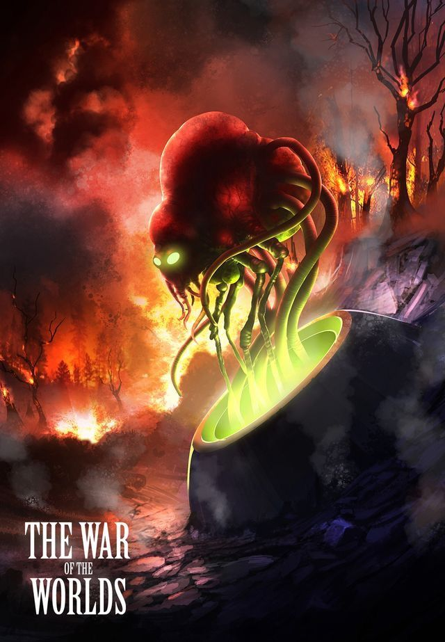 The War Of The Worlds A Martain Rises From The Cylinder War Of The Worlds Science Fiction Illustration Sci Fi Art