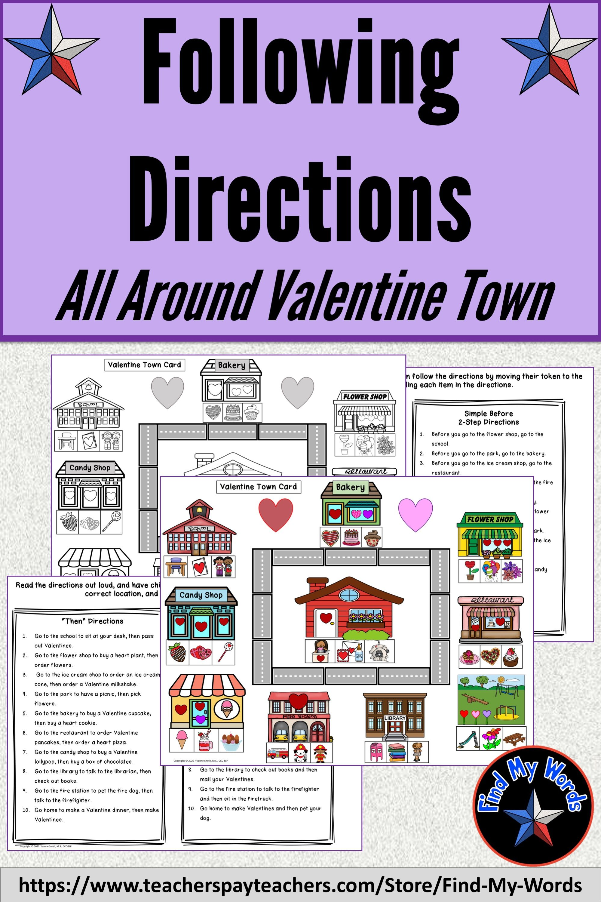 Listening And Following Directions Valentine Activity In