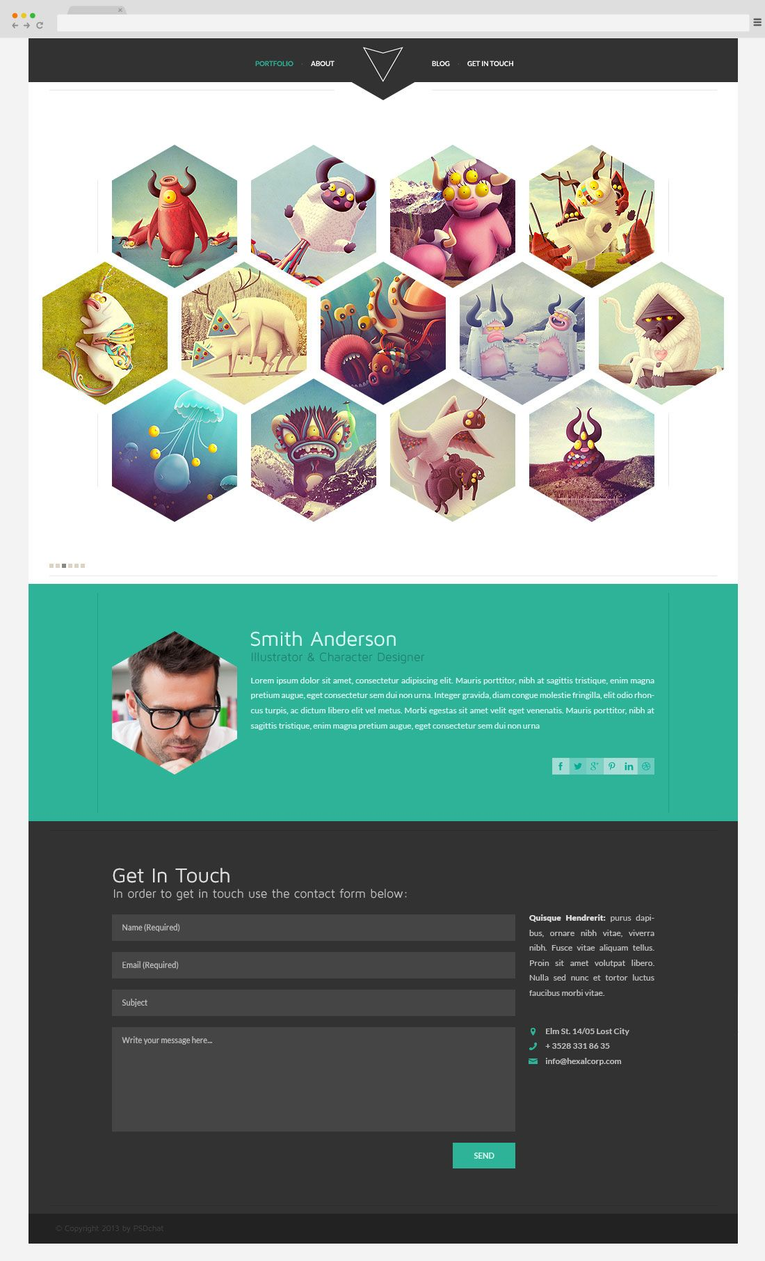 Free Hexagon Portfolio Psd Template  From  Oranges
