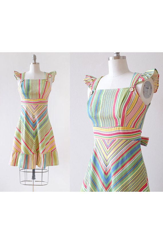 3584369326d 1970s Rainbow Dress   Striped Rainbow Dress   Chevron Dress ...
