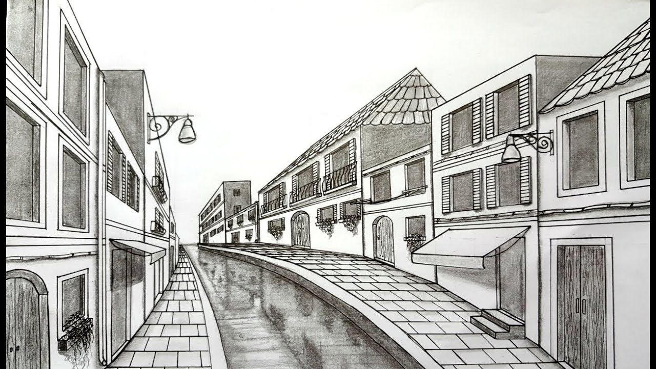 How To Draw Using One Point Perspective Venice Scene How To Draw In One Point Perspective Si One Point Perspective Point Perspective One Perspective Drawing