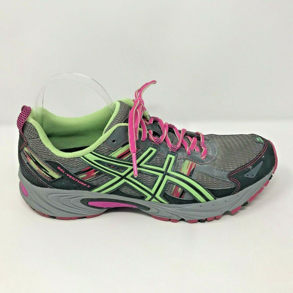 a6c625023e0 Asics Womens Size 11 Gel-Venture 5 Pink Gray Lace Up Running Shoes T5N8N