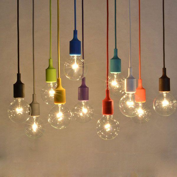 Colorful E27 Silicone Rubber Pendant Light Lamp Holder Socket Diy Indoor Lighting From Lights Lighting On Banggood Com Vintage Light Bulbs Diy Pendant Light Diy Pendant Lamp