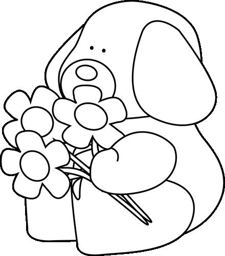 Clip Art Black And White Black And White Valentine S Day Dog With Flowers Black And White Valentines Day Dog Dog Flower Clip Art