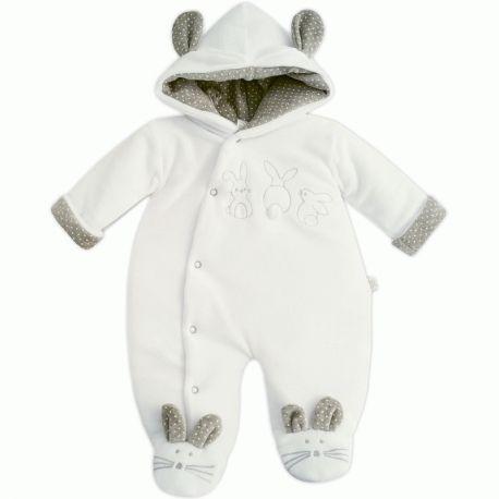 Combi-pilote mixte pour bébé en velours blanc et gris Lapin fabriqué au  Portugal à d086a55a11e