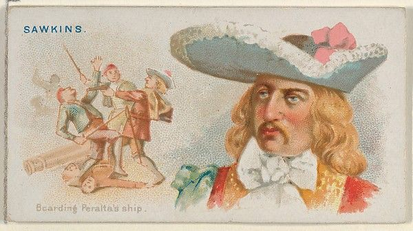 """Sawkins, Boarding Peralta's Ship, from the """"Pirates of the Spanish Main"""" series (N19), for Allen & Ginter Brand Cigarettes, c1888."""