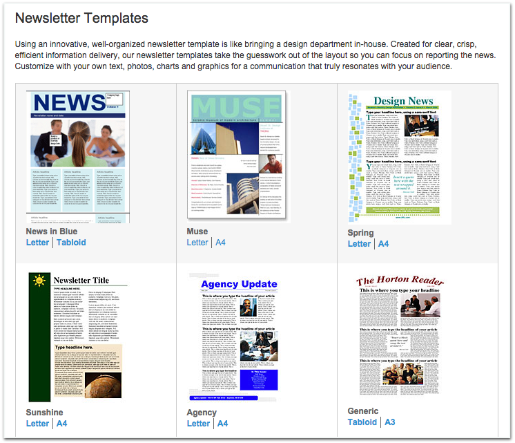 Xerox Newsletter Templates